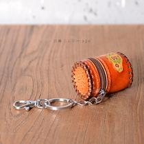 莎暮 创意拉链开口小圆筒钥匙扣 传统手工艺小包小挂件