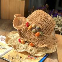日系可爱大檐布艺南瓜装饰镂空编织草帽女夏天出游度假遮阳沙滩帽