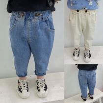 儿童牛仔裤子2020春秋装新款洋气男童休闲裤宝宝运动裤婴儿长裤潮