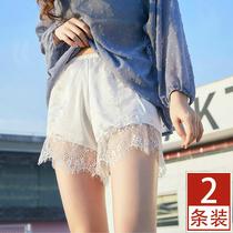 蕾丝薄款安全裤防走光女夏打底裤短裤冰丝可外穿内穿大码白色宽松
