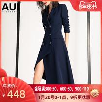aui高端设计感西装风衣女2020秋冬新款中长款不规则气质大衣外套