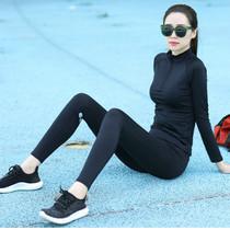 瑜伽服女春夏新款拉链女高领健身房长裤显瘦户外运动服晨跑步套装