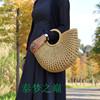 热销新款国产原创民族特色中式复古手工海草编制木柄提手水桶女包