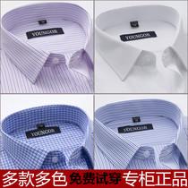 雅戈尔男士长袖衬衫春秋季纯棉商务爸爸正装中年条纹格子官方正品