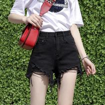 牛仔短裤女高腰2019夏新款破洞黑色显瘦网红学生a字宽松阔腿热裤