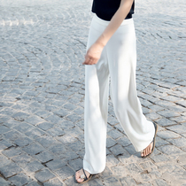 白色高腰雪纺阔腿裤女秋冰丝垂坠感直筒长裤夏宽松显瘦休闲西裤子