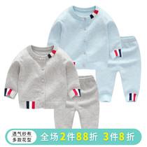婴儿春装纯棉毛衣套装男女宝宝春秋季纱衣新生儿针织开衫外出衣服