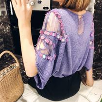 2020夏季韩版新款蝙蝠袖亮片罩衫女纯色镂空圆领冰丝薄款针织衫潮