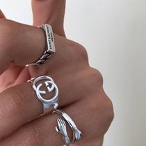 WildMood野生士多 日韩简约时尚GG银饰情侣戒指均码开口戒指