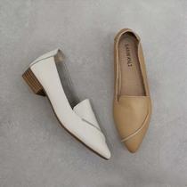 牛皮中跟单鞋真皮尖头复古百搭粗跟女鞋2020新款小白鞋软皮牛津鞋