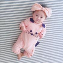 新生儿婴儿童连体衣服女宝宝外出夏装公主薄款春秋夏装外套装满月