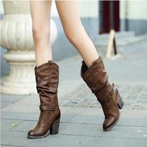 中筒靴女粗跟2019秋冬新款复古高筒女靴英伦风马丁靴女瘦瘦高跟靴