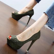 欧洲站性感裂纹防水台鱼嘴单鞋时尚厚底浅口宴会鞋细跟超高跟女鞋