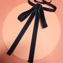韩版银行领结女复古职业领花学院风系带蝴蝶结商务黑色配饰红胸针