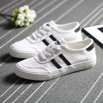 人本帆布鞋女网眼透气球鞋天猫2020夏季新款韩版网面镂空小白鞋子