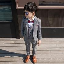 洋气儿童西服套装三件套帅气男孩礼服英伦宝宝男童小西装韩版春秋