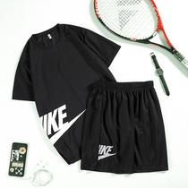 夏季短袖短裤男士运动套装宽松休闲两件套夏天跑步健身速干运动服