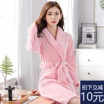 珊瑚绒睡衣女士秋冬季浴衣加厚法兰绒浴袍女大码长款睡袍性感睡裙