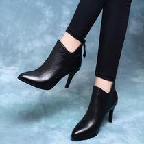 高跟鞋2019新款秋冬季细跟短靴女鞋尖头真皮鞋春秋款小跟裸靴单靴