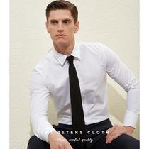 十米布春季白衬衫男长袖商务修身西装衬衣免烫职业正装上班白寸衫