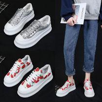 女鞋2020新款小白鞋春季潮亮片板鞋增高网红单鞋百搭松糕鞋女厚底