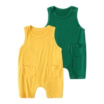 莫代尔婴儿童连体衣服男童宝宝夏装背带裤夏季短袖睡衣春秋装春装