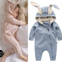 春秋款男女宝宝外出纯棉爬服新生婴儿连体哈衣可爱兔耳朵连身外套