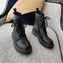 boccalook鞋店 敲帅气厚底绑带百搭马丁靴女早秋新款出街短靴