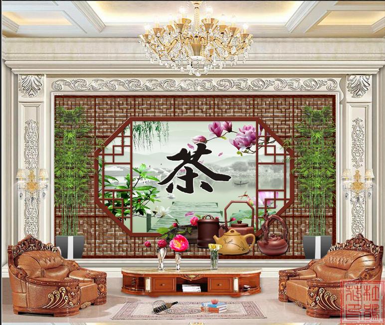 茶道背景墙装饰画茶馆茶室茶楼茶庄茶社茶叶店办公室背景墙装饰画图片