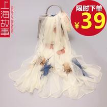 上海故事丝巾长款纱巾超大长巾女士新款炫彩秋冬季保暖薄围巾披肩