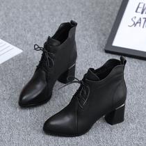 小短靴女2020新款秋季韩版真皮中跟粗跟百搭女士皮鞋系带马丁靴冬