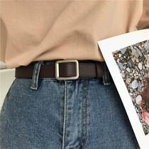 无孔长方形皮带女韩版百搭chic简约复古BF风ins个性潮流学生腰带