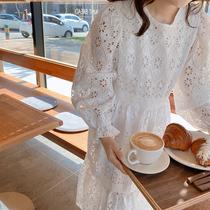 2020新款韩国东大门白色重工蕾丝镂空花纹宽松长款显瘦连衣裙女春