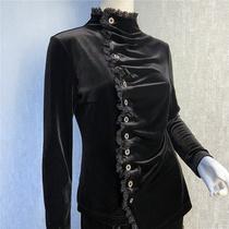 秀巧正品2497女士长袖上衣衬衫纽扣进口弹力丝绒高端精品中年女装