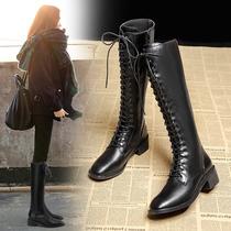 骑士靴女系带长靴2020新款秋冬绑带高筒靴子黑色长筒马丁靴不过膝