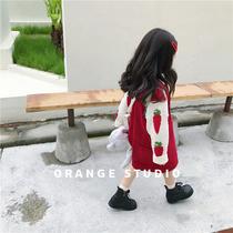橙子童装女童灯芯绒背带裙洋气韩国秋冬新款女宝宝连衣裙可爱裙子
