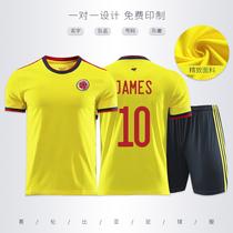 哥伦比亚球衣2020/21美洲杯国家队服足球服套装男女成人儿童定制