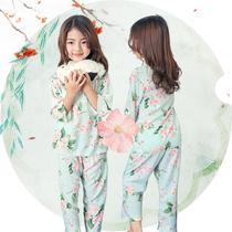 夏季棉绸儿童女童睡衣长袖薄款公主女孩中大童绵绸空调家居服套装