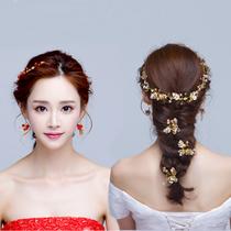 新娘头饰 中式复古发箍敬酒服红色金色结婚配饰手工发夹发饰