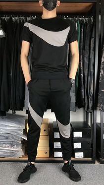 快手热门2020男装钩子休闲运动套装弹力时尚套装抖音同款两件套