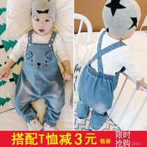 新生男宝宝软牛仔背带裤薄 网红8春秋3-12个月女婴儿童6开裆9裤子