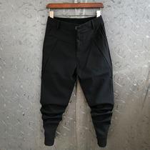 西裤男纯色男士商务休闲裤修身韩版小脚裤子男铅笔裤黑色束脚裤潮