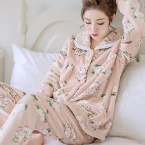 冬季珊瑚绒睡衣女士冬天加厚法兰绒套装秋冬季可爱长袖开衫家居服