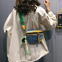 网红上新小包包女包2019新款流行时尚宽带单肩包质感牛仔布斜挎包