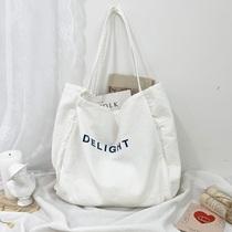 七只布袋韩风chic经典字母水洗帆布单肩包女新款大容量简约初恋包