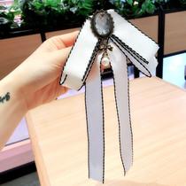 韩版领部配饰黑白色复古领结长款大蝴蝶结领花衬衣别针胸针个性女