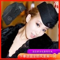 复古羽毛英伦礼帽 女羊毛呢爵士帽秋冬季新韩版空姐帽贝雷帽子