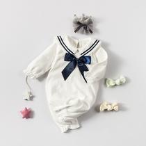 女婴儿连体衣服男宝宝0网红3秋夏装6个月1岁外套装婴幼儿外出抱衣