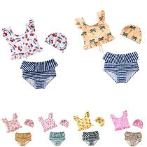 儿童泳衣女童可爱分体比基尼甜美樱桃游泳衣婴儿连体女童泳装ins