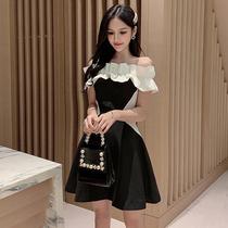 主播连衣裙小礼服短款甜美性感一字肩黑白拼接公主裙成年蓬蓬裙